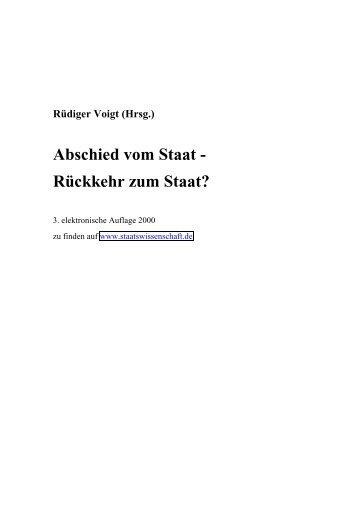 (Hrsg.) Abschied vom Staat - Rückkehr zum Staat? - Rüdiger Voigt