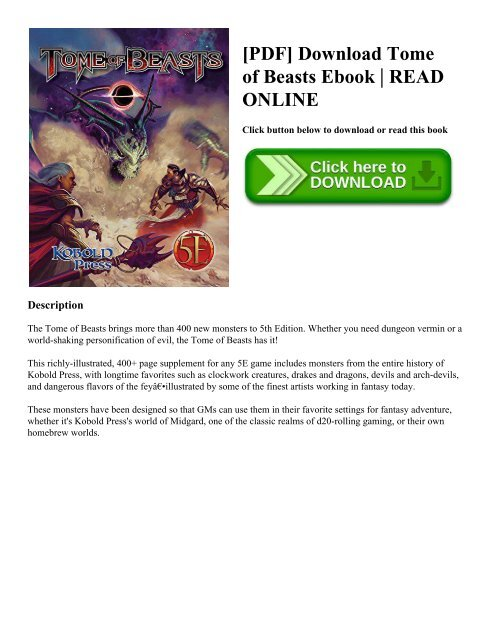 PDF] Download Tome of Beasts Ebook READ ONLINE