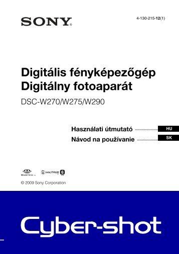 Sony DSC-W270 - DSC-W270 Consignes d'utilisation Slovaque