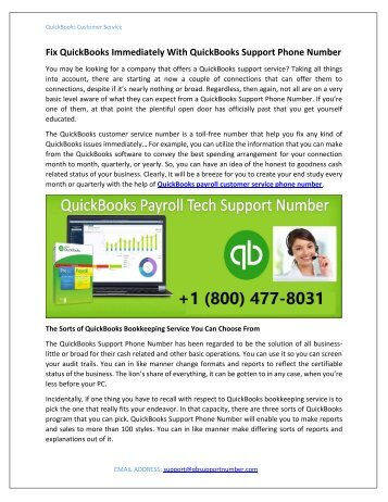 Fix QuickBooks Immediately With QuickBooks Support Phone Number