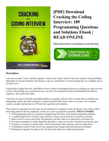[PDF] Download Cracking the Coding Interview 189 Programming Questions and Solutions Ebook  READ ONLINE