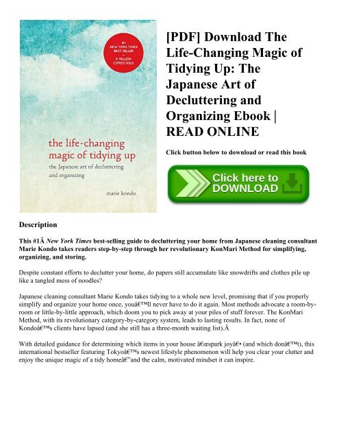 Pdf Download The Life Changing Magic Of Tidying Up The Japanese Art