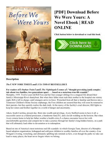 [PDF] Download Before We Were Yours A Novel Ebook  READ ONLINE