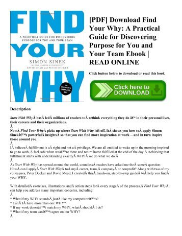 [PDF] Download Find Your Why A Practical Guide for Discovering Purpose for You and Your Team Ebook  READ ONLINE