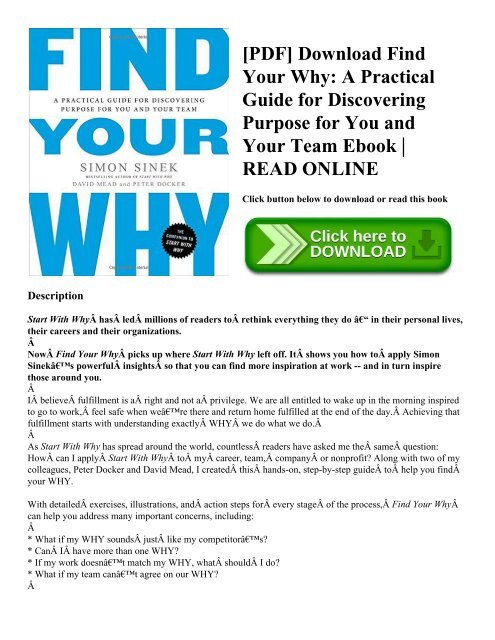 PDF] Download Find Your Why A Practical Guide for