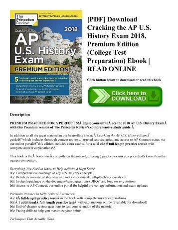 [PDF] Download Cracking the AP U.S. History Exam 2018  Premium Edition (College Test Preparation) Ebook  READ ONLINE