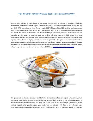 Customize Seo Packages By Mozoro