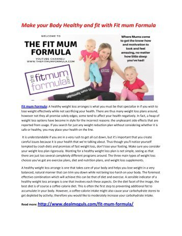 Fit mum Formula : Increase Your Energy Level in your body
