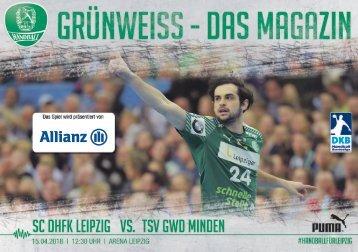 Grünweiss - Spieltagsheft SC DHfK Leipzig vs. GWD Minden