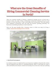 What are the Great Benefits of Hiring Commercial Cleaning Service in Perth?