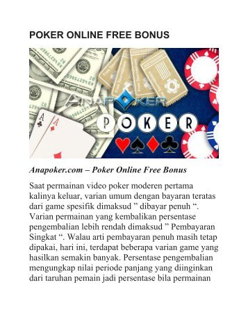 POKER ONLINE FREE BONUS