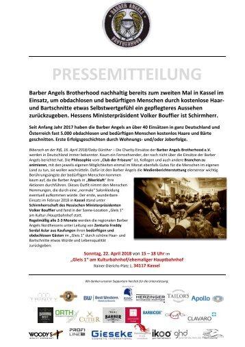 Pressemitteilung Barber Angels Regionaleinsatz Kassel am 22. April 2018
