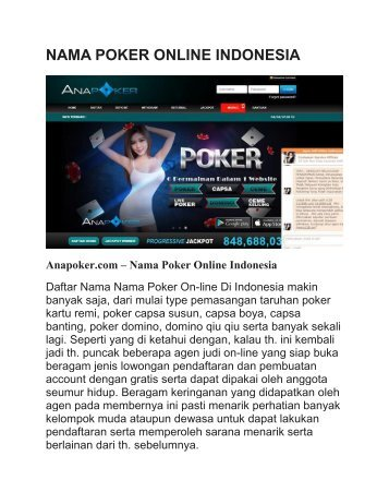 NAMA POKER ONLINE INDONESIA