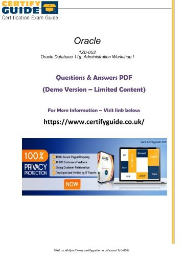 1Z0-052 Exam Certification Guides 2018