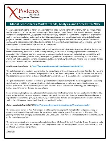 Cenospheres Market to 2025: New Tech Developments, Advancements, Key Players, Strategies to Boost Industry Growth
