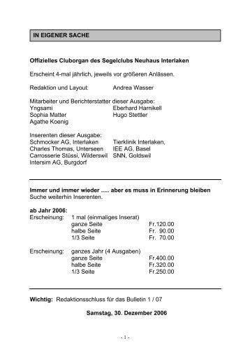 Offizielles Cluborgan des Segelclubs Neuhaus Interlaken ... - SCNI