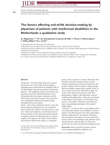 The factors affecting end of life decision making by physicians of patients with intellectual disabilities in the Netherlands a qualitative study