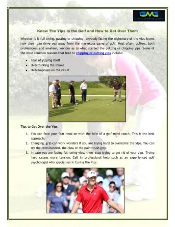 Know The Yips in the Golf and How to Get Over Them