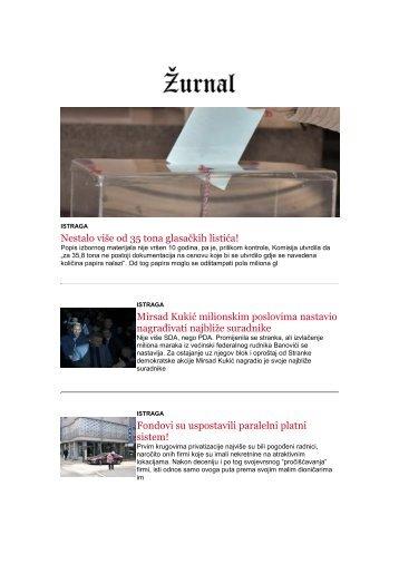 NEWSLETTER ŽURNALA 2.4 - 16.4.2018 godine