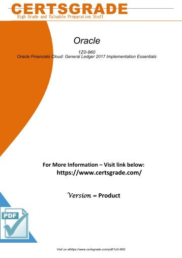 1Z0-960 Real PDF Exam Material 2018