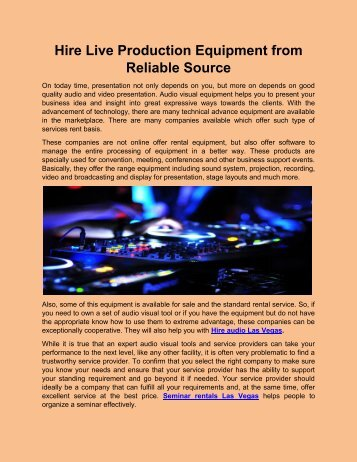 Hire Live Production Equipment from Reliable Source
