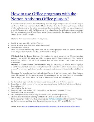 How to use Office programs with the Norton Antivirus Office plug in