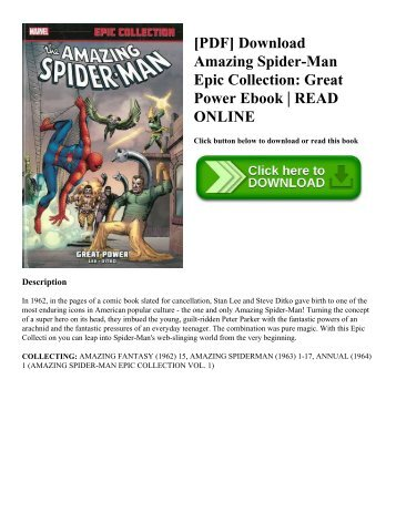 [PDF] Download Amazing Spider-Man Epic Collection Great Power Ebook  READ ONLINE