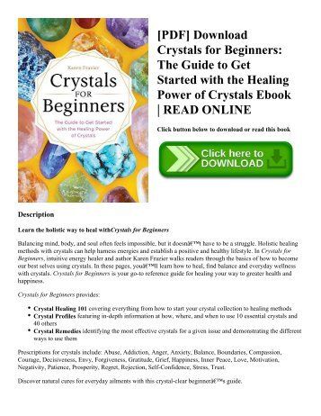 [PDF] Download Crystals for Beginners The Guide to Get Started with the Healing Power of Crystals Ebook  READ ONLINE