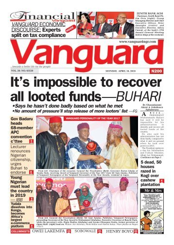 16042018 - It's impossible to recover all looted funds—BUHARI