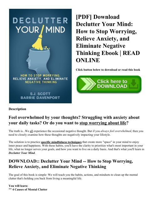 [PDF] Download Declutter Your Mind How to Stop Worrying  Relieve Anxiety  and Eliminate Negative Thinking Ebook  READ ONLINE