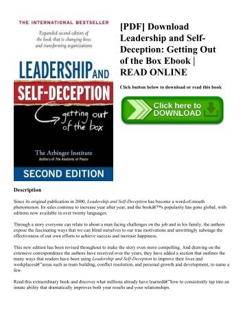 [PDF] Download Leadership and Self-Deception Getting Out of the Box Ebook  READ ONLINE