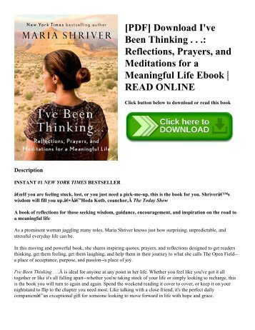 [PDF] Download I've Been Thinking . . . Reflections  Prayers  and Meditations for a Meaningful Life Ebook  READ ONLINE