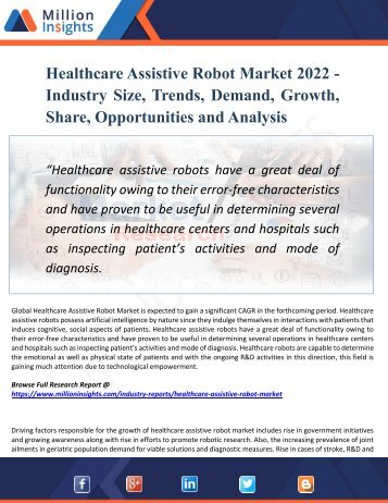 Healthcare Assistive Robot Market 2017 - Global Trend, Segmentation and Opportunities Forecast To 2022