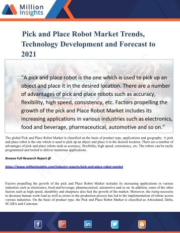 Pick and Place Robot Market Trends, Technology Development and Forecast to 2021