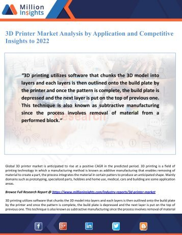 3D Printer Market Analysis by Application and Competitive Insights to 2022