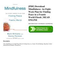 [PDF] Download Mindfulness An Eight-Week Plan for Finding Peace in a Frantic World Ebook  READ ONLINE