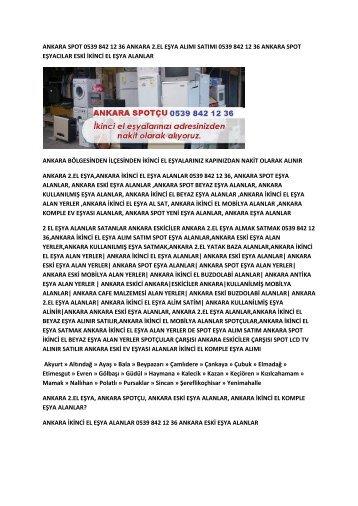 Ankara ikinci el eşya alanlar 0539 842 12 36