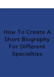 How to Create a Short Biography for Different Specialties