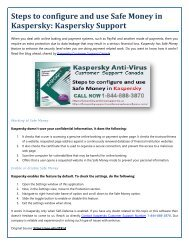How to configure and use Safe Money in Kaspersky?