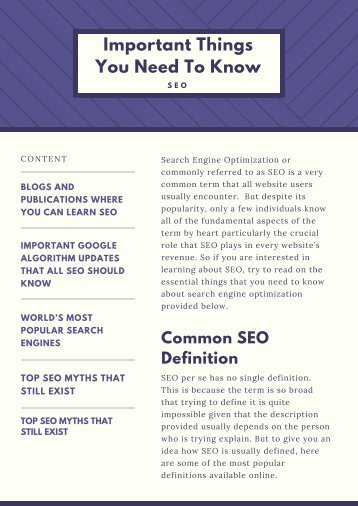 SEO: Important Things You Need To Know