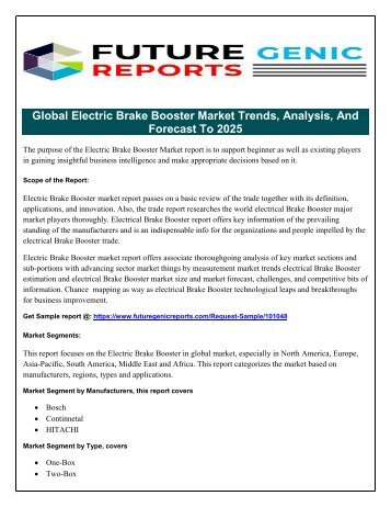 Global Electric Brake Booster Market Application Investigates Growth Inclinations for the Period Until 2020