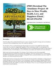 [PDF] Download The Abundance Project 40 Days to More Wealth  Health  Love  and Happiness Ebook  READ ONLINE