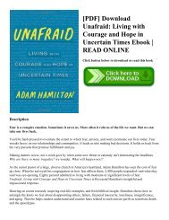 [PDF] Download Unafraid Living with Courage and Hope in Uncertain Times Ebook  READ ONLINE