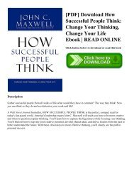 [PDF] Download How Successful People Think Change Your Thinking  Change Your Life Ebook  READ ONLINE