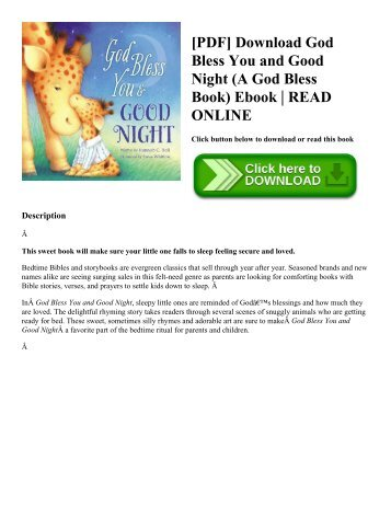 [PDF] Download God Bless You and Good Night (A God Bless Book) Ebook  READ ONLINE