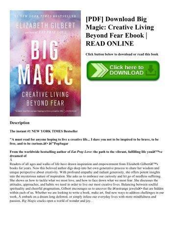 [PDF] Download Big Magic Creative Living Beyond Fear Ebook  READ ONLINE
