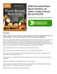 [PDF] Download Plant-Based Nutrition  2E (Idiot's Guides) Ebook  READ ONLINE