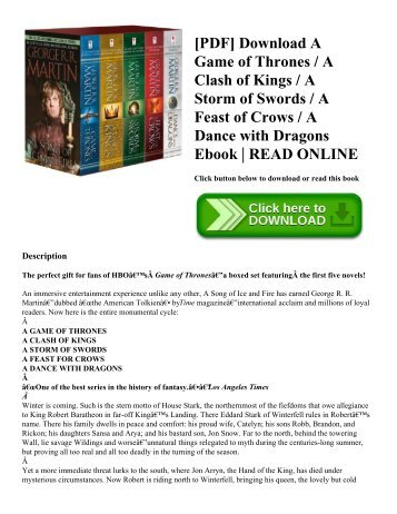 [PDF] Download A Game of Thrones  A Clash of Kings  A Storm of Swords  A Feast of Crows  A Dance with Dragons Ebook  READ ONLINE