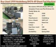 Buy Used 1999 SM74-4P Heidelberg Printing Presses Machine