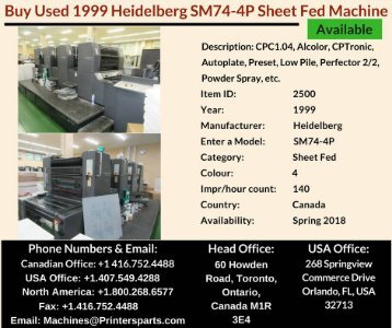 Buy Used 1999 SM74-4P Heidelberg Printing Presses Machine